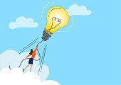 Big Idea. Light bulb rocket.Creativity Concept.