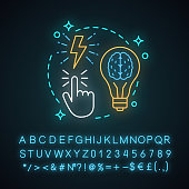Big idea neon light concept icon.  Insight. Creativity. Brainstorm. Imagination idea. Solution finding. Glowing sign with alphabet, numbers and symbols. Vector isolated illustration