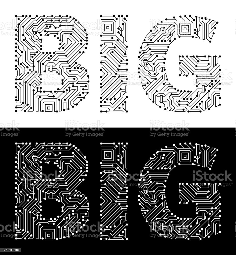 Big In Black And White Circuit Board Font Stock Vector Art & More ...