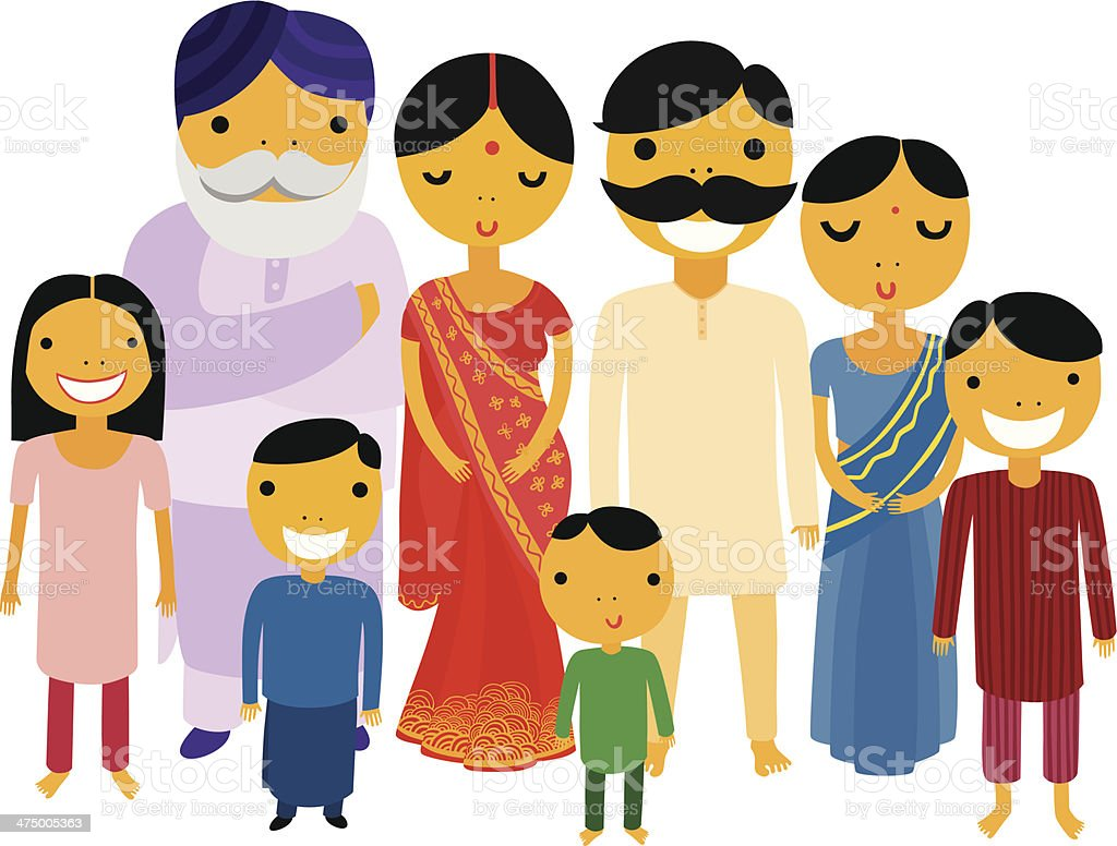 Big Indian Family vector art illustration