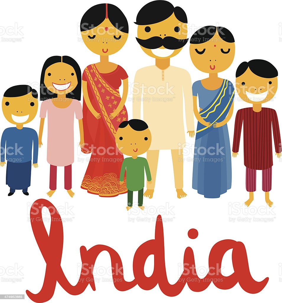 Big Indian Family with India Typography vector art illustration