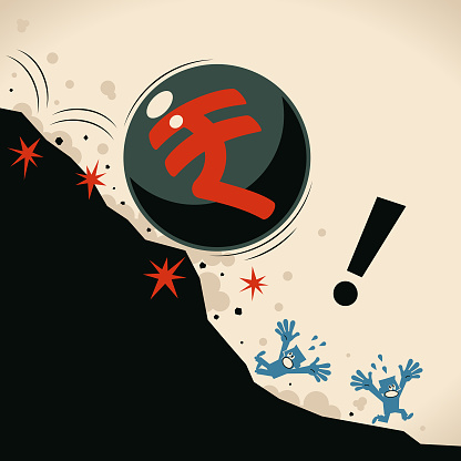 Big iron ball with Rupee sign falling off a cliff, people are screaming and escaping, financial crisis and economic recession concept
