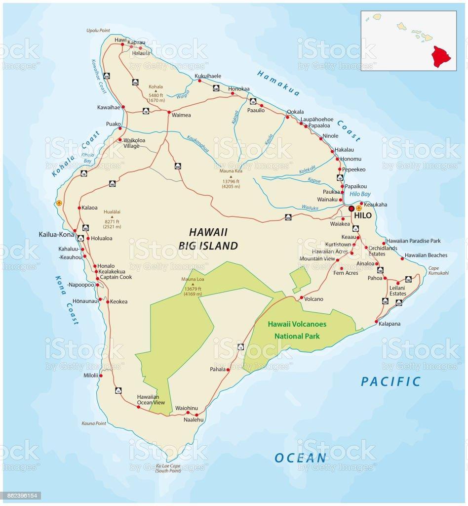 Big Island, hawaii, map vector art illustration