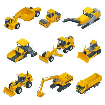 Big isometric set of construction equipment. Forklifts, cranes, excavators, tractors, bulldozers, trucks.