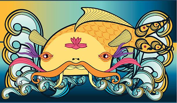 Big Japanese Koi Carp vector art illustration