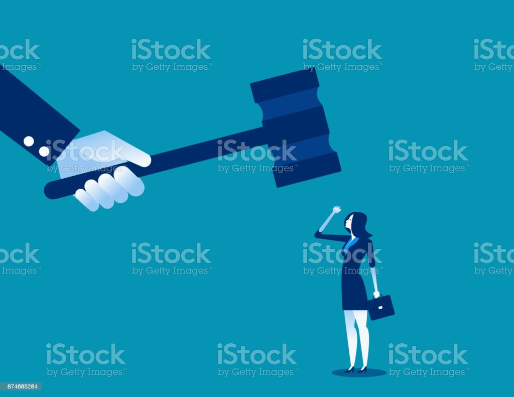 Big judge banging gavel on small businesswoman. Concept business vector illustration. vector art illustration