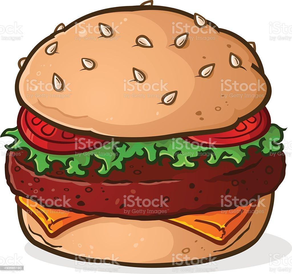 Big Juicy Hamburger Cartoon vector art illustration
