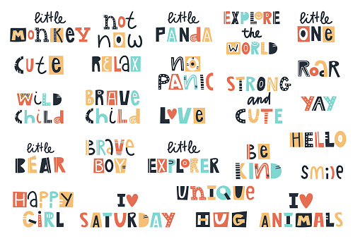 Big kids collection of lettering phrases. Vector illustration