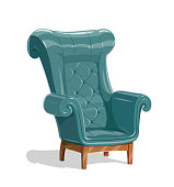 Big leather armchair vector illustration, eps10 isolated