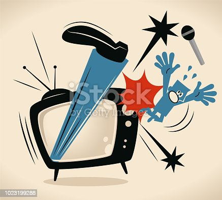 Blue Little Guy Characters Vector art illustration.Copy Space. Big leg kicking host out of TV screen.