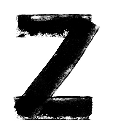 Big letter Z - abstract shape painted by hand and paint roller on white paper background - art with unique natural imperfections - dots spots lines uneven smudges abrasions transparences and uneven edges stock illustration in grayscale