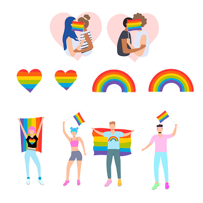 Big LGBT set. Woman and men taking part in pride parade. Two boys and Two girls kiss for an LGBT flag. LGBT rainbow and heart. Symbol lgbt culture.  Vector stock illustration in flat style.