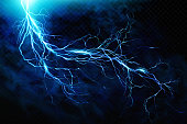 Big lightning on the skyA flash of lightning against a background of thunderclouds. Natural energy. Transparent elements. Vector EPS10