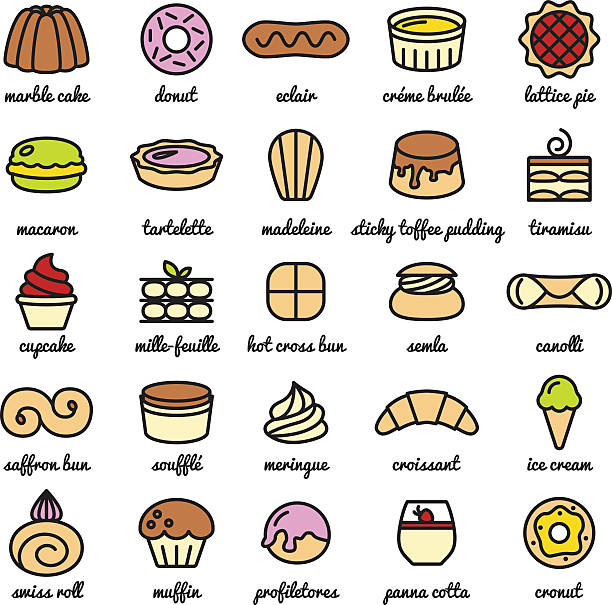 big line icon set of world best desserts and sweets vector art illustration