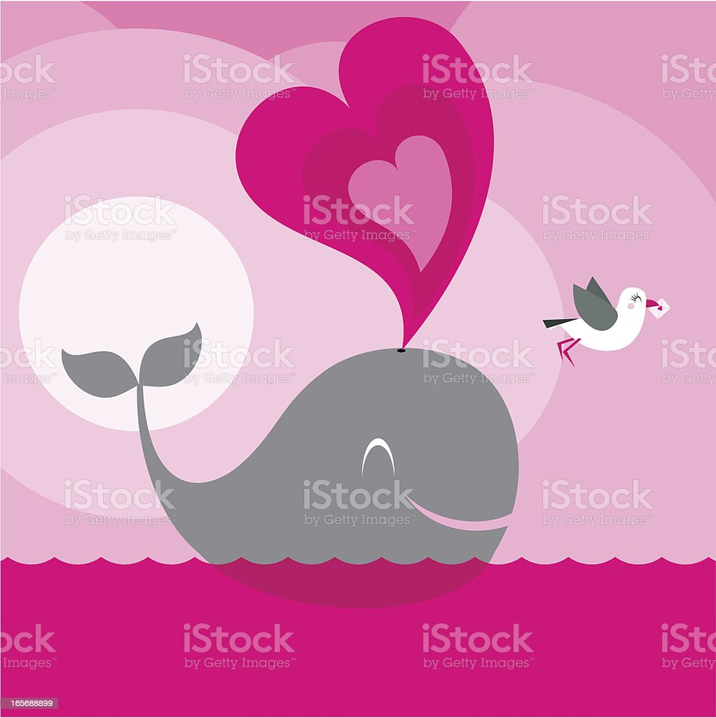 Big love. Valentine's Day pink heart seagull whale minimil vector art illustration