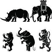 Big mammal heraldry set
