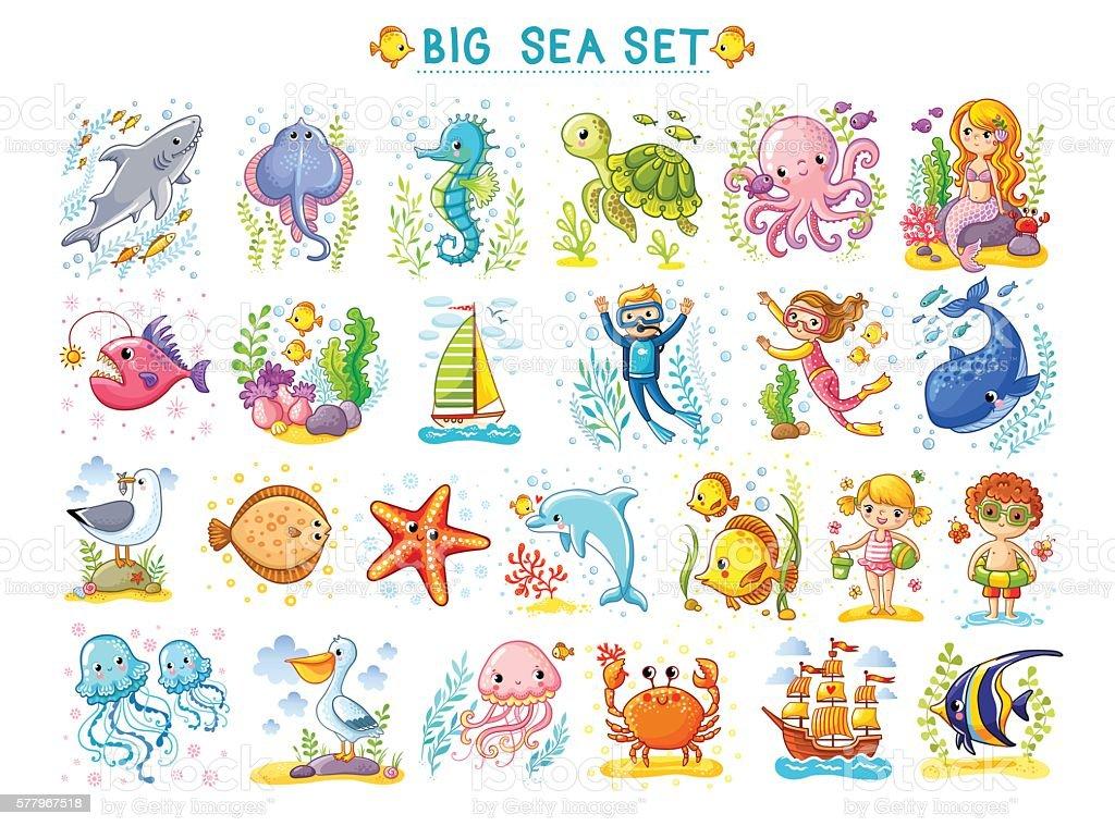 Big Marine set of vector illustration on the  theme. vector art illustration