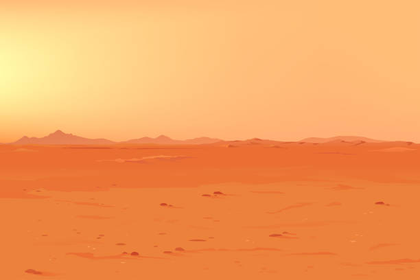 Big Martian Panorama vector art illustration