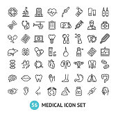 Big Medical Signs Black Thin Line Icon Set Include of Heart, Lung, Brain, Pill, Liver, Dna, Stomach, Kidney, Eye and Stethoscope. Vector illustration of Icons