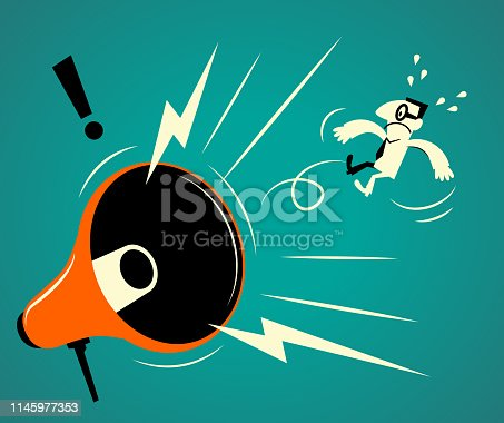 Business Man Characters with Glasses Manga Style Cartoon Vector art illustration. Full Length. Big megaphone shouting at a businessman.