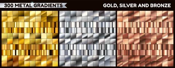 duży metalowy pakiet. kolekcja złota, srebra i brązu gradientu do projektowania. ustawiono gradienty wektorowe. - metal stock illustrations