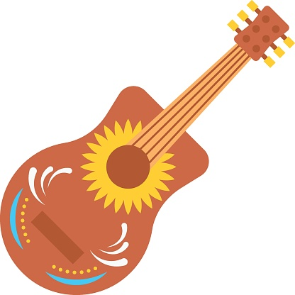 Big Mexican guitar vector color icon design, Guitarron mexicano concept,  Mexican culture symbol on White background, Customs and Traditions Signs, cinco de Mayo federal holiday elements