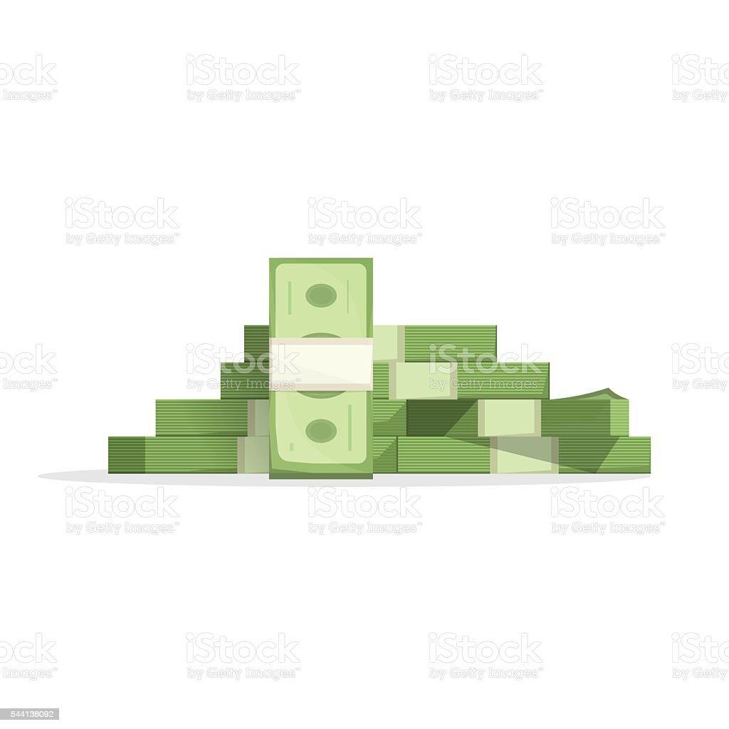 Big money pile vector, heap of cash flat cartoon isolated vector art illustration