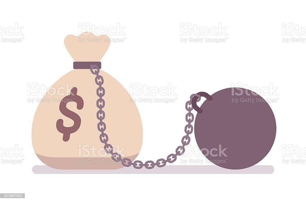 Big money sack on a metal chain with weight vector art illustration