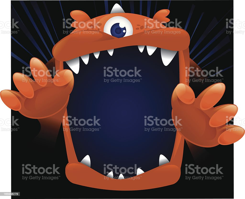 Big Monster Face vector art illustration