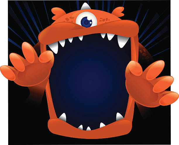 Big Monster Face vector art illustration