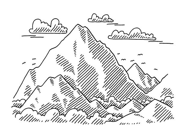Big Mountain Landscape Drawing Hand-drawn vector drawing of a Big Mountain Landscape. Black-and-White sketch on a transparent background (.eps-file). Included files are EPS (v10) and Hi-Res JPG. environment stock illustrations