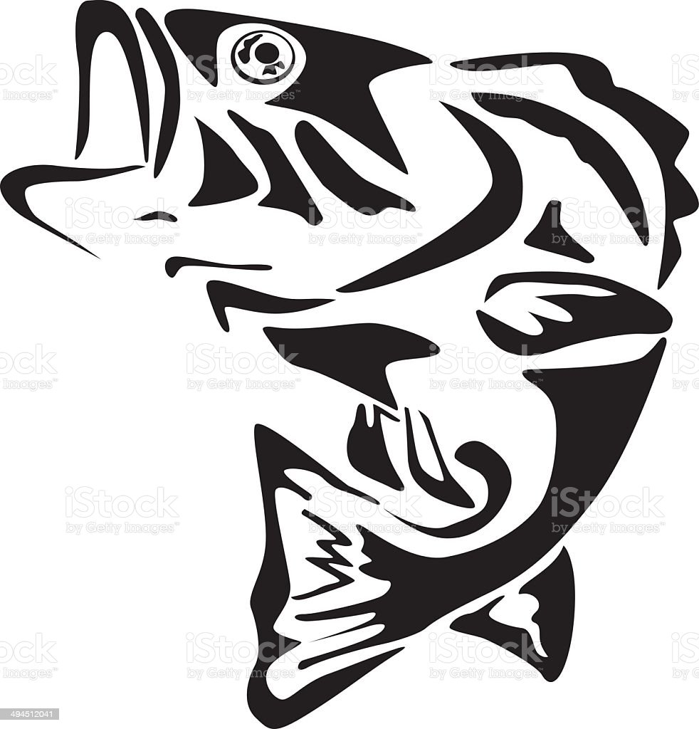 big mouth bass fish stock vector art   more images of bass fish clip art printable bass fish clipart outlines