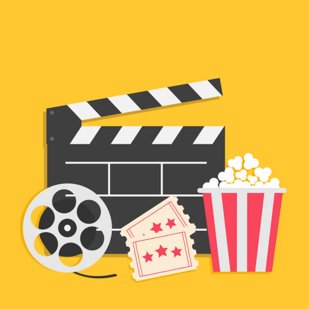 stockillustraties, clipart, cartoons en iconen met grote film reel open klepel bestuur popcorn vak pakket ticket toegeven een. drie sterren. bioscoop pictogramserie. gele achtergrond. platte ontwerpstijl. - popcorn