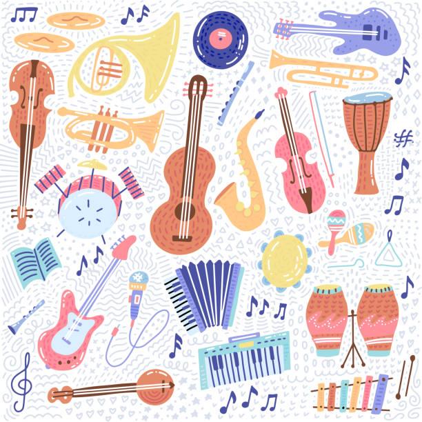 big music zestaw instrument muzyczny i symbole ikony kolekcje. elementy koncepcji dźwięku kreskówki. nuty z fortepianem, gitarą, skrzypcami, trąbką, perkusją, saksofonem i harfą. ręcznie rysowane doodle wektor - instrument muzyczny stock illustrations
