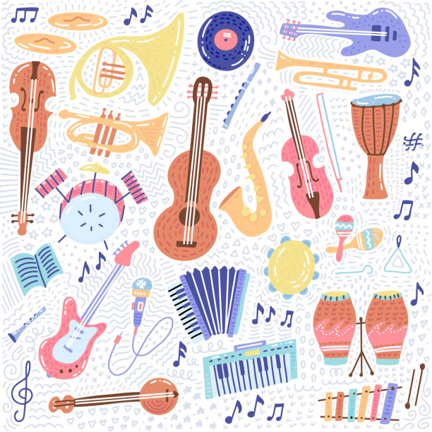 big music set musical instrument and symbols icons collections. cartoon sound concept elements. music notes with piano, guitar, violin, trumpet, drum, saxophone and harp. hand drawn doodle vector - akordeon instrument stock illustrations
