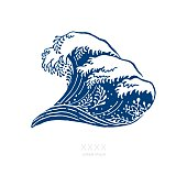 An original artwork vector illustration of a big wave with flower elements in navy blue isolated on white background. This Square composition pattern can be a travel postcard, invitation or surfing flyer.