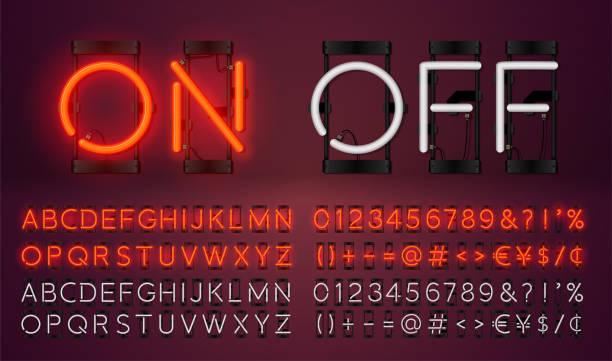 큰 네온 설정 빛나는 알파벳 글꼴을 벡터. 빛나는 텍스트 효과. 켜고 램프. 네온 숫자와 문장 부호 빨간색 배경에 고립. - 형광 stock illustrations