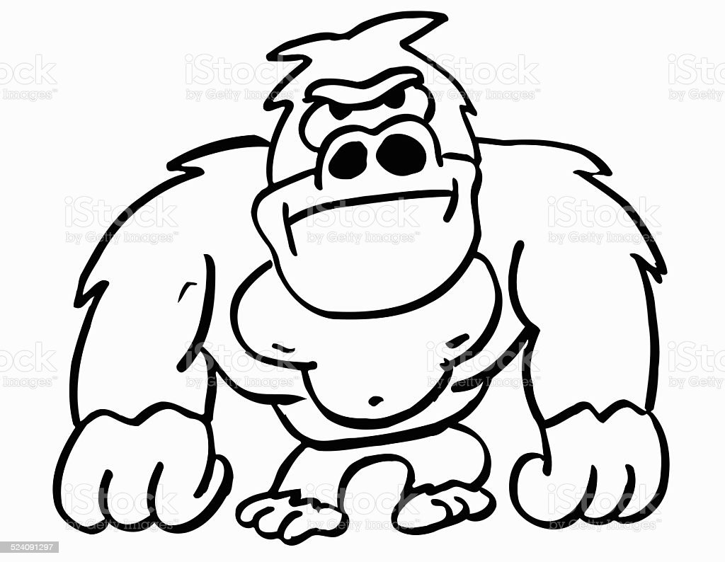 drawing of the a gorilla clip art, vector images & illustrations