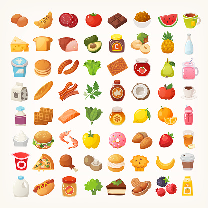 Big number of foods from various categories. Isolated vector icons clipart