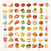 istock Big number of foods from various categories. Isolated vector icons 1019329744