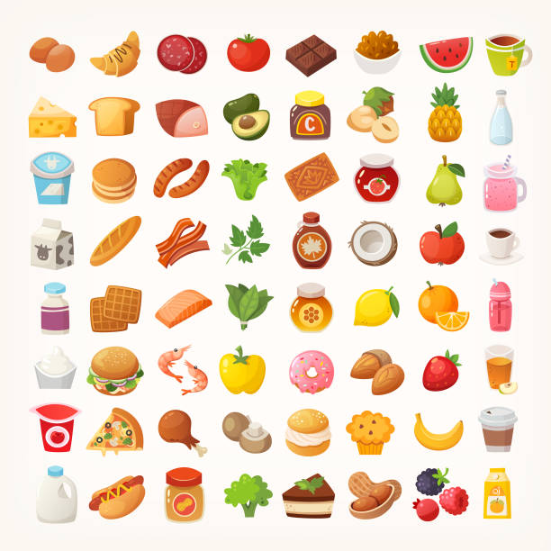 Big number of foods from various categories. Isolated vector icons vector art illustration