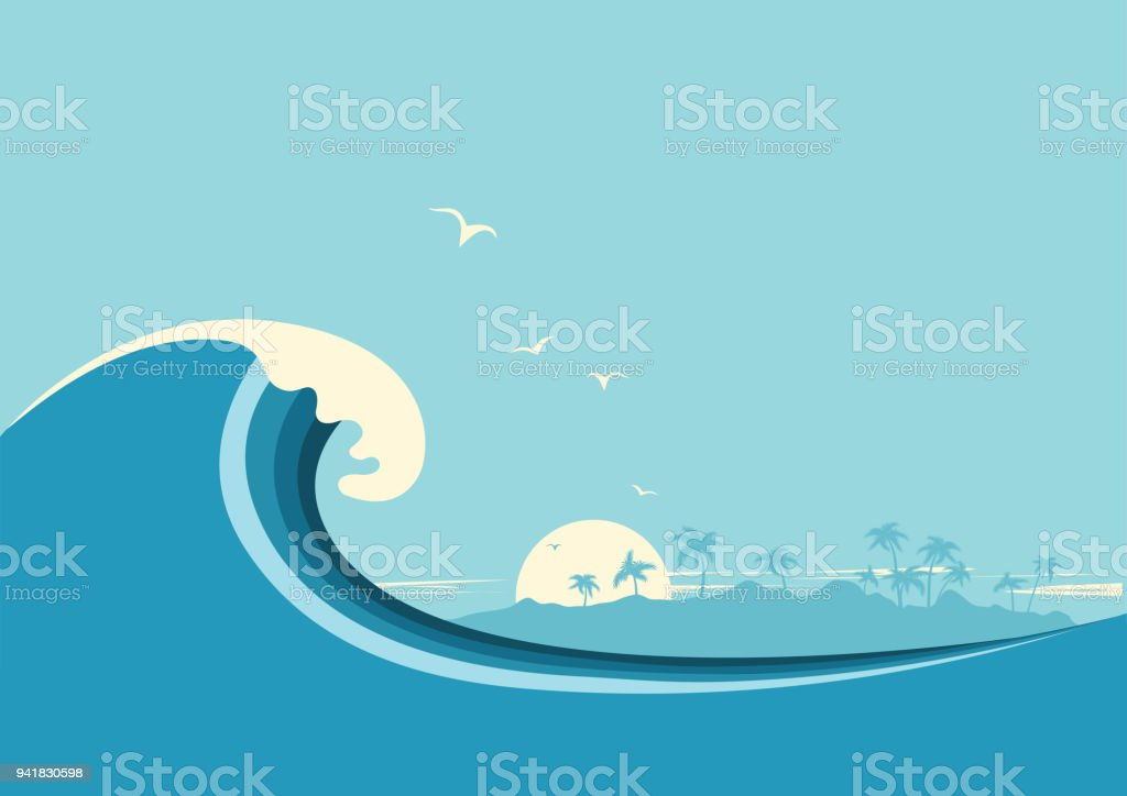 Big ocean wave and tropical island.Vector blue background Big ocean wave and tropical island.Vector blue background Backgrounds stock vector