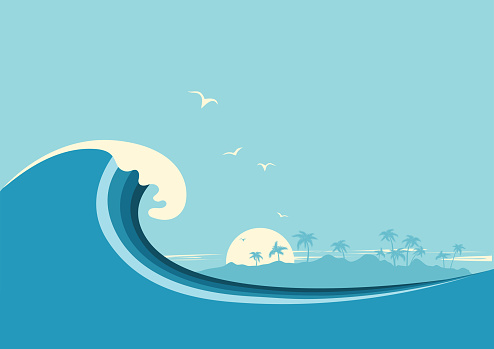 Big ocean wave and tropical island.Vector blue background clipart