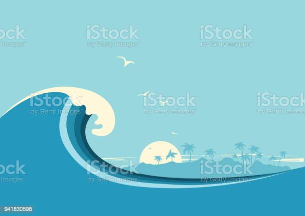 Big ocean wave and tropical islandvector blue background vector id941830598?b=1&k=6&m=941830598&s=612x612&h=p yruhiquauugsyiyykaowicxiugqbghwvj7dsqtu9a=