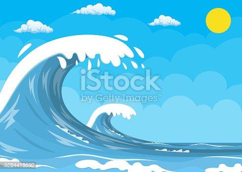 istock Big ocean wave 1264418592