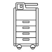 Big office printer icon, outline style