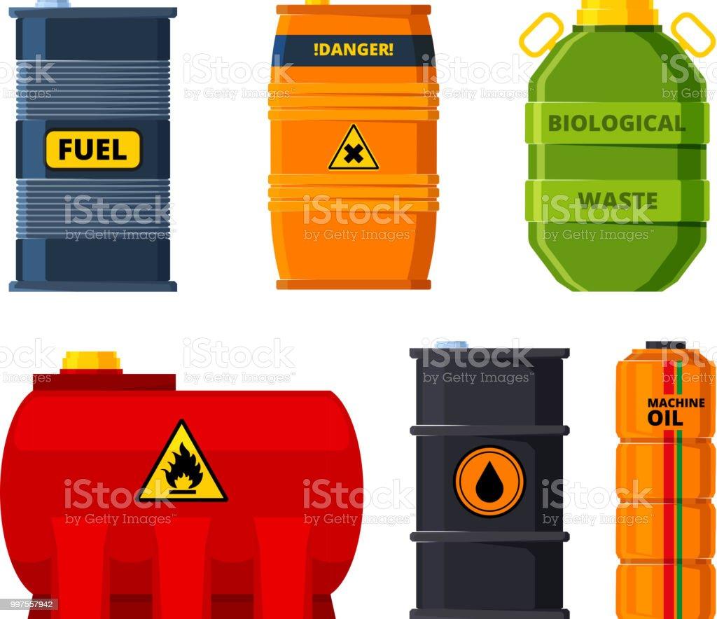 Große Öltanks. Satz von Barrel Öl oder toxischen Brennstoff – Vektorgrafik