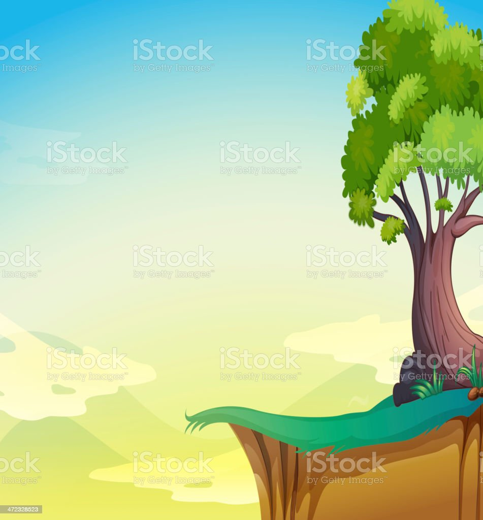 Big old tree near the cliff royalty-free stock vector art