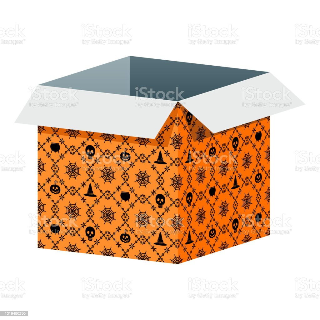 Big Open Box Template With Halloween Pattern Royalty Free