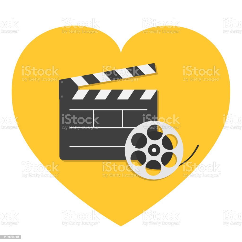 Big open clapper board Movie reel Cinema icon set. Heart sign symbol....